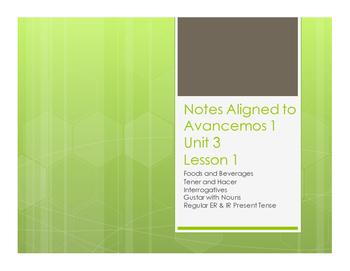 Avancemos 1 Unit 3 Lesson 1 Notes