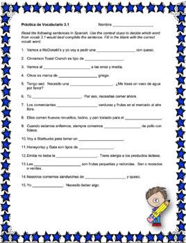 Avancemos 1 Unit 3 Vocabulary Activity
