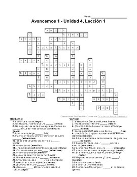 Avancemos 1, Unit 4 Lesson 1 (4-1) Crossword Puzzle