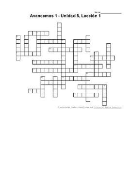 Avancemos 1, Unit 5 Lesson 1 (5-1) Crossword Puzzle