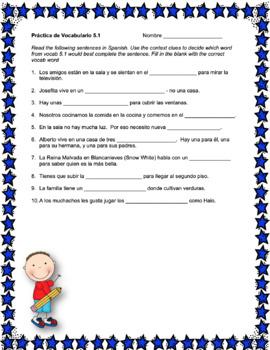 Avancemos 1 Unit 5 Vocabulary Activity
