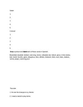 Avancemos 1 Unit 6 Lesson 1 Study Guide