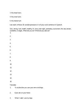 Avancemos 1 Unit 6 Unit 2 Study Guide