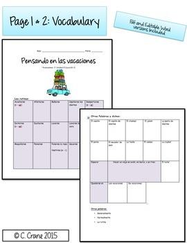 Avancemos 1 Unit 8 Lesson 1 - Student Handouts & Notes