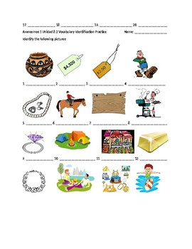 Avancemos 1 Chapter 8 Vocabulary 2 Identification Practice/Quiz