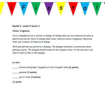 Avancemos 1: unit 5 lesson 2 Fiesta Planning Unit Activities