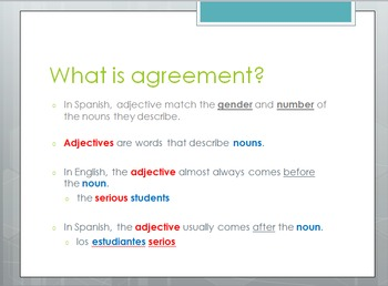 Avancemos 1.1.2 Noun-Adjective Agreement