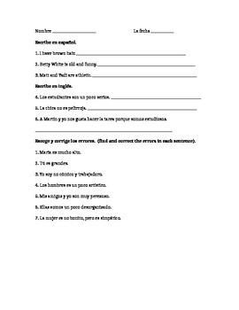 Avancemos 1.2 noun-adjective worksheet