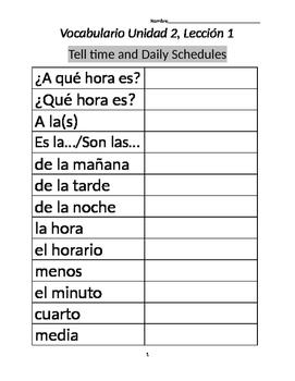 Avancemos 1A: Unit 2 Lesson 1 Vocab List