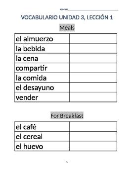 Avancemos 1A Unit 3 Lesson 1 Vocabulary List