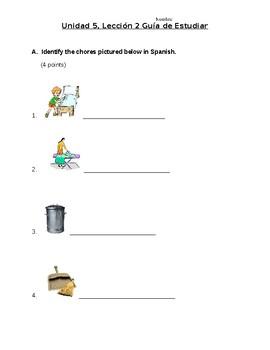 Avancemos 1b: Unit 5, Lesson 2 Study Guide