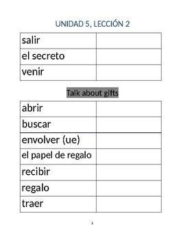 Avancemos 1b: Unit 5, Lesson 2 Vocabulary List