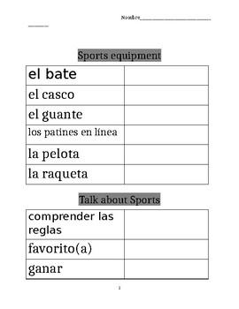 Avancemos 1b: Unit 6, Lesson 2 Vocabulary Chart