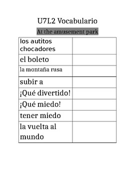 Avancemos 1b: Unit 7 Lesson 2 Vocabulary Notes