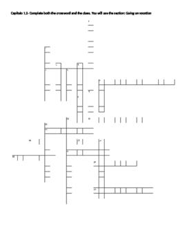 Spanish 2- Avancemos 1.2 Vocab crossword Part 1