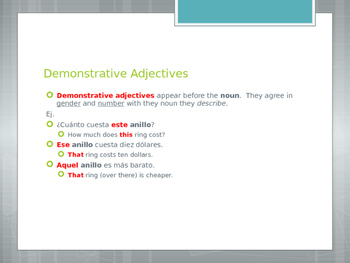 Avancemos 2.2.1 Demonstrative Adjectives and Pronouns