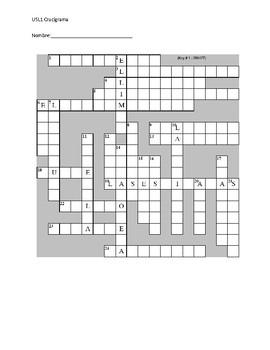 Avancemos 2 Food Vocabulary Crossword Puzzle