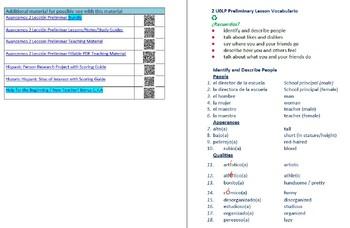 Avancemos 2  Lección Preliminar Lessons/Notes/Study Guides