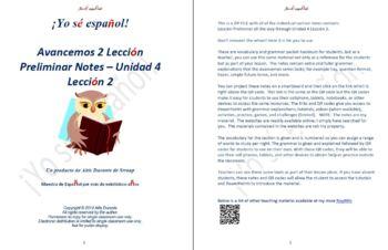 Avancemos 2 Lección Preliminar - Unidad 4 Lección 2 Lesson