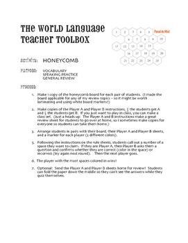 Avancemos 2 Lección Preliminar Honeycomb