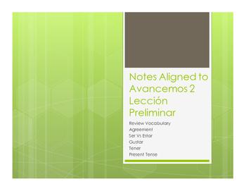 Avancemos 2 Lección Preliminar Notes