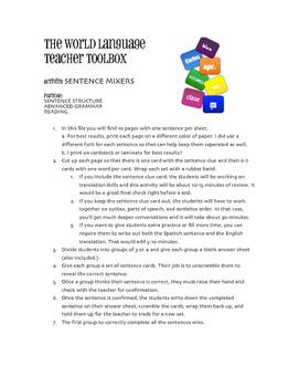 Avancemos 2 Lección Preliminar Sentence Mixer