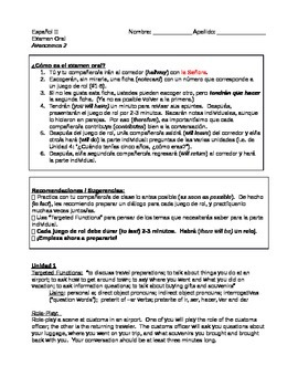 Avancemos 2 - Oral Exam Material and Instructions for Mid-Term and/or Final Exam