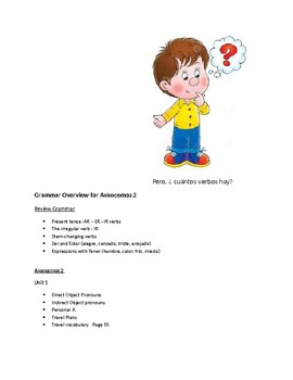 Avancemos 2   Overview and Verb List  for Units 1 through 7