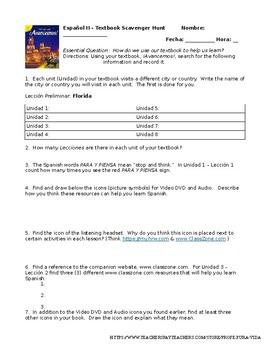 Avancemos 2 - Textbook Scavenger Hunt