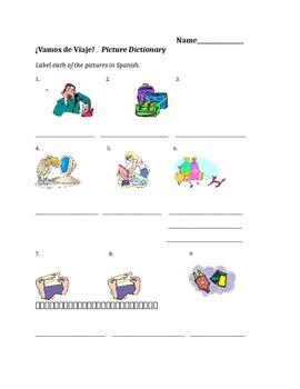 Avancemos 2 U1L1 Picture Dictionary Labeling/Clip Art Activity