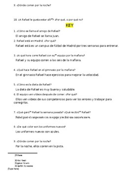 Avancemos 2 U2L1 Reading Comprehension & Questions: Spanish Soccer Camp Fútbol