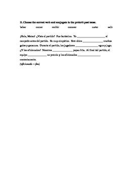 Avancemos 2 U2L1 vocab and conjugation practice: sports, preterit, adverbs