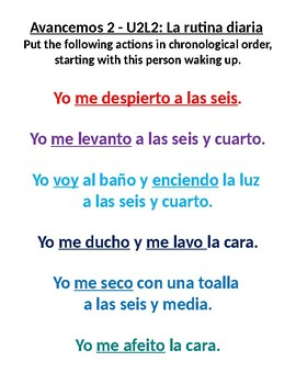 Avancemos 2 U2L2 Routine in Spanish - Reflexive Verbs: Put routine in order