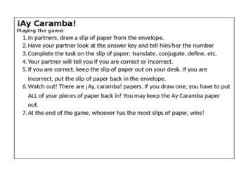 Avancemos 2 U4L2 Vocabulary- ¡Ay, Caramba! Partner Game
