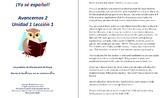 Avancemos 2  Unidad 1 Lección 1 Lessons/Notes/Study Guides