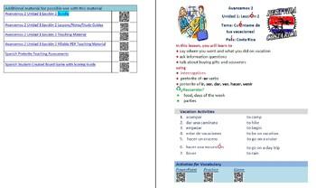 Avancemos 2  Unidad 1 Lección 2 Lessons/Notes/Study Guides