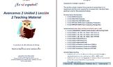 Avancemos 2 Unidad 1 Lección 2 Teaching Material