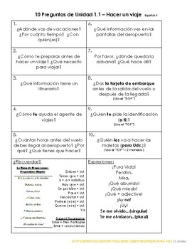 Avancemos 2 - Unidad 1 Lección 1 - 10+ Preguntas