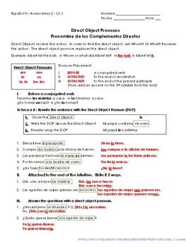 Avancemos 2 - Unidad 1 Lección 1 - Direct Object Pronouns + Placement