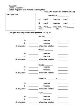 Avancemos 2 - Unidad 1, Leccion 2 Grammar Review
