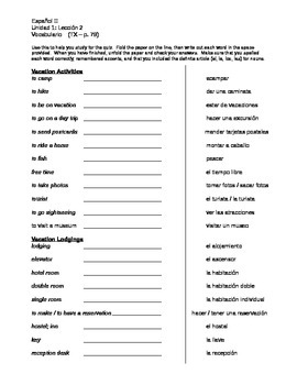 Avancemos 2 - Unidad 1, Leccion2 - Vocabulary Write-outs for Practice