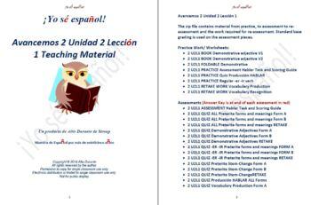 Avancemos 2 Unidad 2 Lección 1 Teaching Material