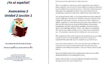 Avancemos 2  Unidad 2 Lección 2 Lessons/Notes/Study Guides
