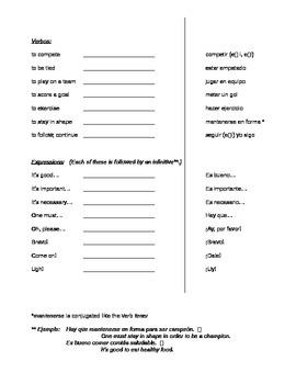 Avancemos 2 - Unidad 2 Leccion 1 Vocabulary Study