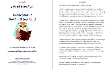 Avancemos 2  Unidad 3 Lección 1 Lessons/Notes/Study Guides
