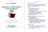 Avancemos 2 Unidad 3 Lección 2 Teaching Material