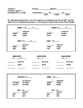 Avancemos 2 - Unidad 3 Leccion 1 - Verb practice and Partner activity