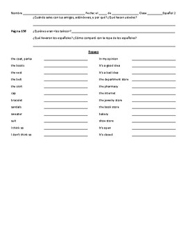 Avancemos 2 Unidad 3 Lección 1 Vocabulary, Culture and Review Packet