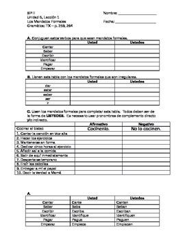 Avancemos 2 - Unidad 5 Leccion 1 - Formal Commands Practice