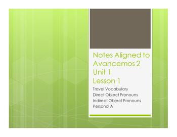 Avancemos 2 Unit 1 Lesson 1 Notes